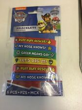 6 PAW PATROL Wristbands Birthday Party Bag Fillers Gifts RUBBER BRACELETS