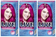 Schwarzkopf Ultra Brights Or Pastel 093 Shocking Pink Vibrant Colour Hair Dye x3