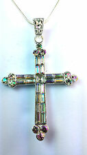 AB STONE / RAINBOW COLOURED SHINY CROSS NECKLACE