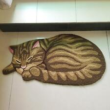 33x18 Inch Brown Cute Sleeping Tabby Cat Room Doormat Non-slip Rug Mat Carpet
