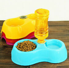 1PC Pet Dog Cat Puppy Automatic Water Dispenser Food Dish Double Bowl