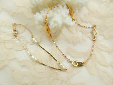 "Vintage AVON 2 Bracelets Lot Gold Tone Chain 8.5"" and 7"" Keshi Mother of Pearl"
