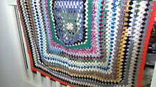 "Vintage Hand-Made Chrochet Blanket 44"" x 46"""