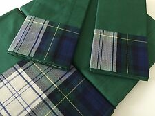 Luxury Italian 100% Egyptian Cot Percale King Sz Bed Set Sheets D.Green Checked