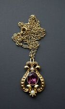 VINTAGE ESTATE SIGNED AVON AMETHYST AND PEARL PENDANT NECKLACE