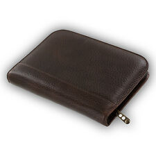 Aston Leather Genuine Leather Collectors Zippered 10-Pen Case Holder, Brown