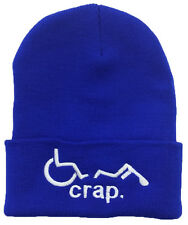 OH CRAP! Funny Handicapped broken wheelchair Beanie Hat Halloween Party