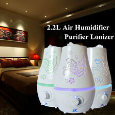 2.2L Ultrasonic Home LED Aroma Humidifier Air Diffuser Purifier Lonizer Atomizer
