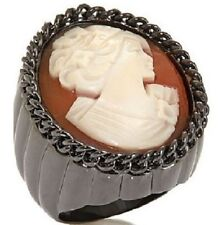 AMEDEO NYC Incatenata 25 MM Cameo Bold Oval Ribbed Ring sz 7 Gun Metal Tone