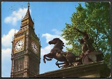C1970's View of Big Ben Clock Tower & Boadicea Statue London