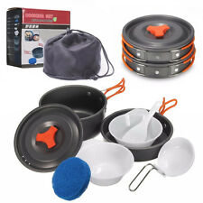 8Pcs/ set Outdoor Camping Cookware Backpacking Cooking Picnic Bowl Pot Pan Set