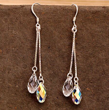 Sterling Silver Dangly Earrings Use Swarovski Element Crystal Tear Drop Clear AB