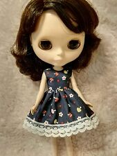 Blythe Doll Outfit flowers mushrooms print Lace blue Dress