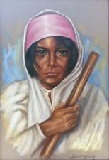 "Raul Anguiano pastel ""Mujer de la limpieza"" - gorgeous - signed and dated 1986"