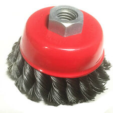 "1PC 4""  Steel TWIST Wire Cup Wheel Brush Disc, Metal Steel M14 x 2 Angle Grinder"