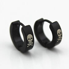 Punk Skull Bone Black Stainless Steel Stud Hoop Earrings Fashion Men Jewelry