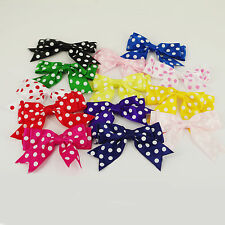 """85mm SPOTTY Large Double Bows Satin Ribbon Bows With Tails 4"""" Beautiful 5 / 25"""