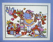 """Joan Elliott Teddies On The Line """"Out To Dry"""" Counted Cross Stitch Kit"""