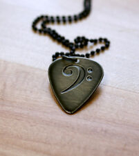 Hand Made Etched Guitar Pick Necklace - Bass Clef - Black Chrome