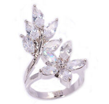 Huge ! White Topaz Women Fashion Jewelry Gemstone Silver Ring Size 6 PNJ9285