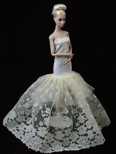 Elegant Barbie Flower Double Layer Sheer Lace Beige Wedding Dress Cloth Gown