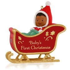 Hallmark Ornament 2015 African-American Baby's First Christmas Sleigh