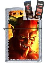 Zippo 5025 devil care to be friend Lighter with *FLINT & WICK GIFT SET*