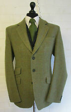 Bespoke moss green red herringbone check wool tweed suit blazer jacket 42R