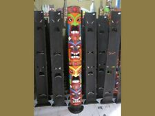 5 Ft Tall Colorful Quadruple Headed Painted Tiki Mask w/ Stand Tropical Decor