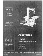 1974 Craftsman 113.22570  1x42 Belt Sander Grinder Instructions