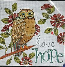 "Hope Owl Counted Cross Stitch Kit Heartfelt Design Works 10"" x 10"" New"