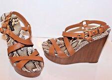 LOUIS VUITTON Shoes Tan Wedge Sandals Size 38.5 EUR