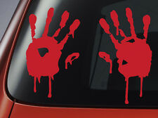 Blood Hand Prints - Red Vinyl Decal - Car, Window, Wall, Laptop Sticker