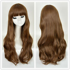 Fashion Women's Blunt Bangs Long Natural Wavy Hair Blonde Brown Wig