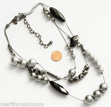 Chico's Signed Necklace Black Gunmetal Multi Chains Gray Hematite Beads