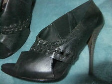 ALL SAINTS SHOES BLACK  LEATHER  COLLAR DETAIL STILETTO HEEL SIZE 38 BN
