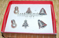 """Pier 1 Christmas Candle Jewelry Holiday Set 6 Silver Metal 1"""" Snowman Tree Bell"""