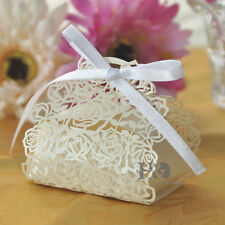 12pcs Ivory Wedding Gift Boxes With Ribbon & Rose Sweet Boxes Favour Box Bags
