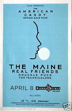 "MAINE / REAL FRIENDS ""AMERICAN CANDY SPRING 2015 TOUR"" SAN DIEGO CONCERT POSTER"