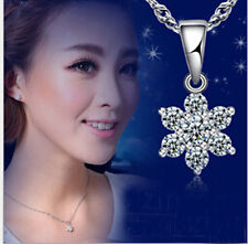 925 Sterling Silver  Swarovski Crystal Snowflake Necklace Pendant Chain