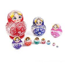 10pcs WOODEN RUSSIAN NESTING DOLLS HAND PAINTED BABUSHKA MATRYOSHKA SET GIFT