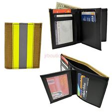 Firefighter Bunker Turnout Gear Wallet Leather Bifold Fire Gold Yellow Stripe