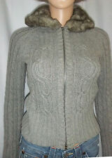 Abercrombie Girls' Cable Knit Gray Sweater/Jacket/Hoodie w/Faux-Fur-Lined Hood L