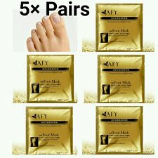 5 × Pairs 24k Gold Foot Peeling Mask Cuticle Callus Hard Dry Skin Exfoliating UK