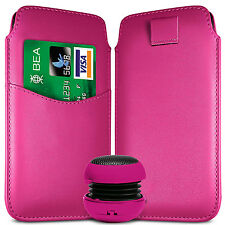 CARD SLOT PU LEATHER PULL FLIP TAB CASE COVER POUCH & SPEAKER FOR SONY PHONES