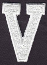 "LETTERS - WHITE BLOCK LETTER ""V"" (1 7/8"") - Iron On Embroidered Applique Patch"