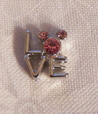 Stacked Love w/ Pink Crystal Mickey Mouse Floating Locket Charm -Silver-tone