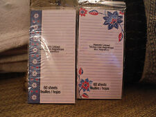 NEW LOT of 2 Magnetic Shopping To Do List Pads 60 Sheets Ea. - Blue Floral