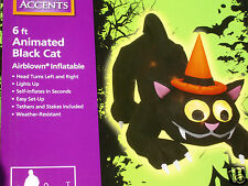 NEW 6' ANIMATED Lighted CAT w/MOVING HEAD & EYES Halloween Airblown Inflatable