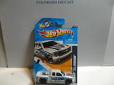 2012 Hot Wheels #164 White Chevy Silverado Pickup ERROR w/Mismatched Wheels